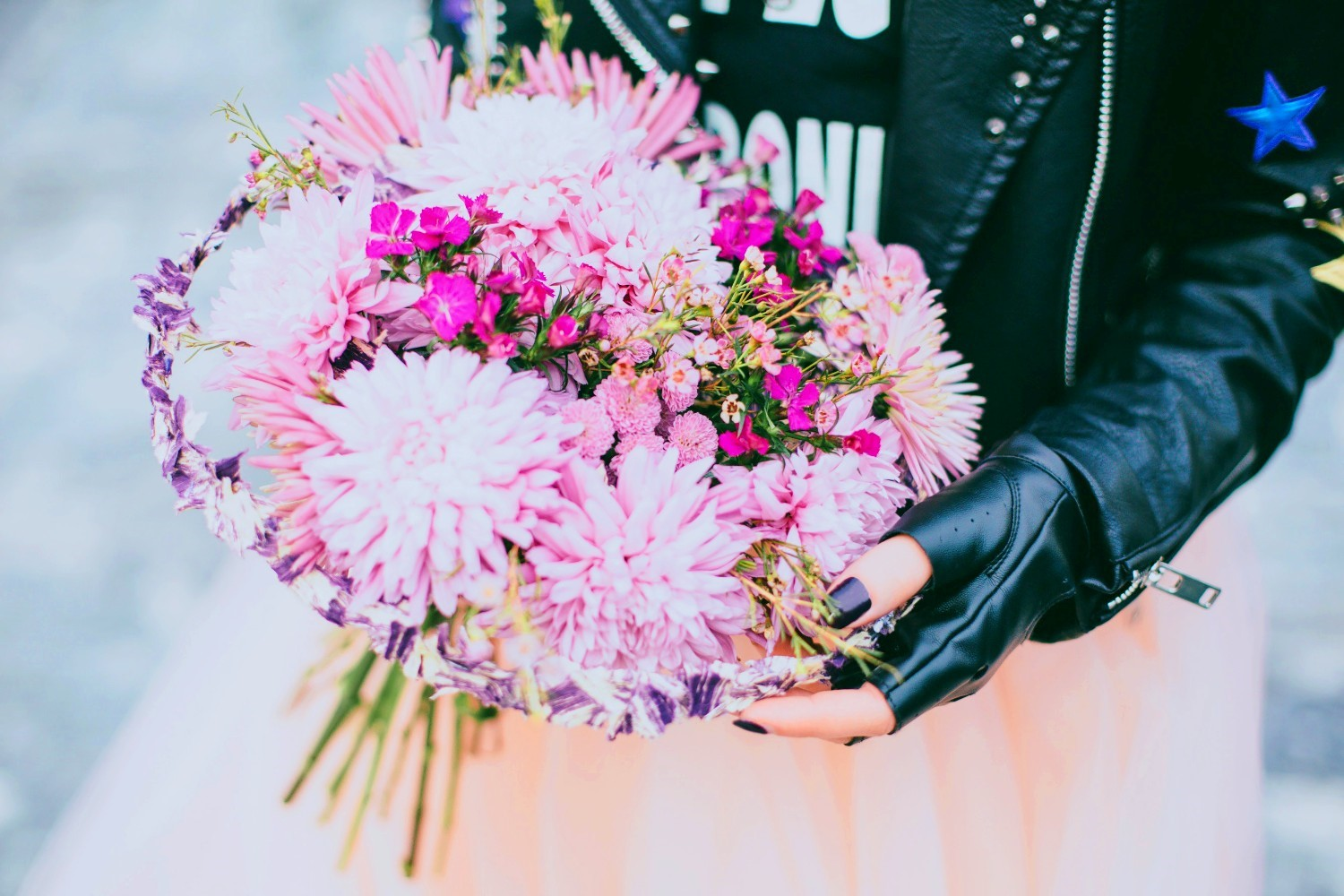 Alternative Leather Jacket Bride with Bouquet